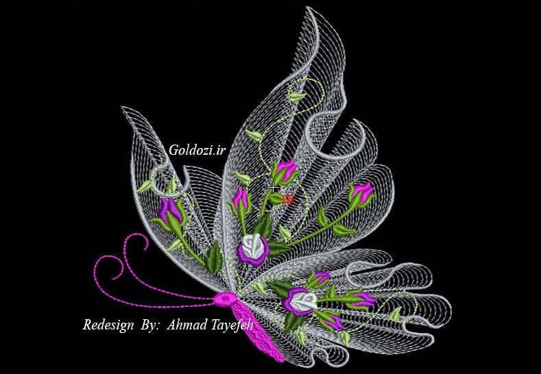 طرح زیبای گلدوزی پروانه
