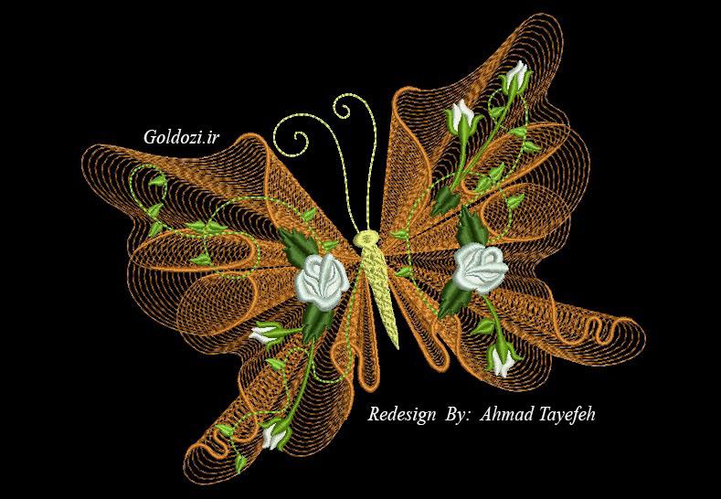 طرح های جدید گلدوزی پروانه 2
