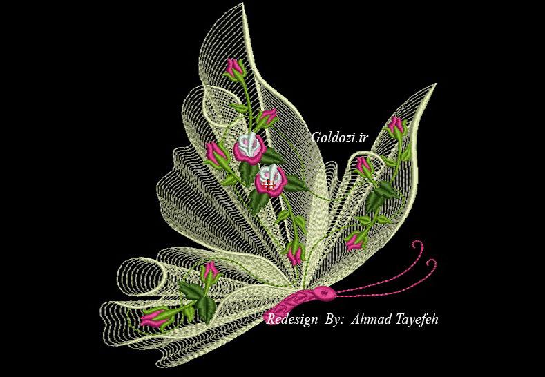 طرح های جدید گلدوزی پروانه