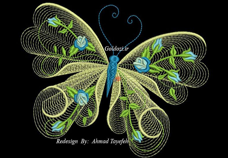 طرح پروانه برای گلدوزی 2