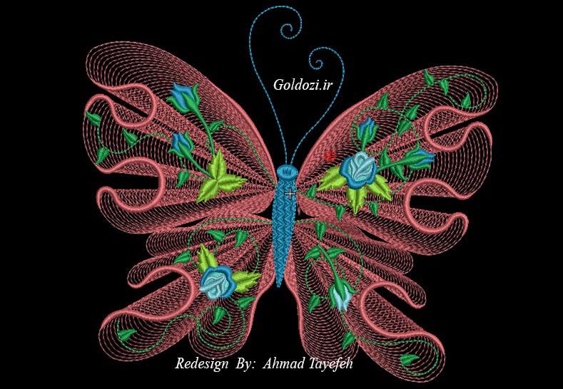طرح گلدوزی پروانه 2