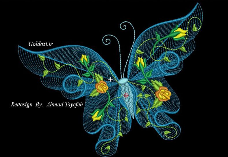 طرح گلدوزی پروانه