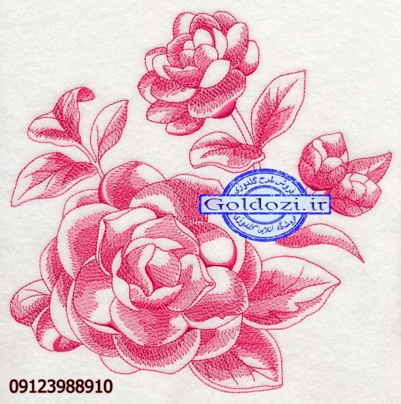 طرح گلدوزی گل خطیK4158