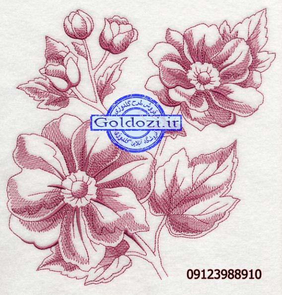 طرح گلدوزی گل خطیK4163