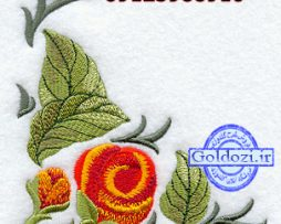طرح گلدوزی گل حاشیهD6864
