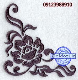 طرح گلدوزی حاشیه گلD7125